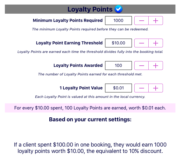 Loyalty Points Options